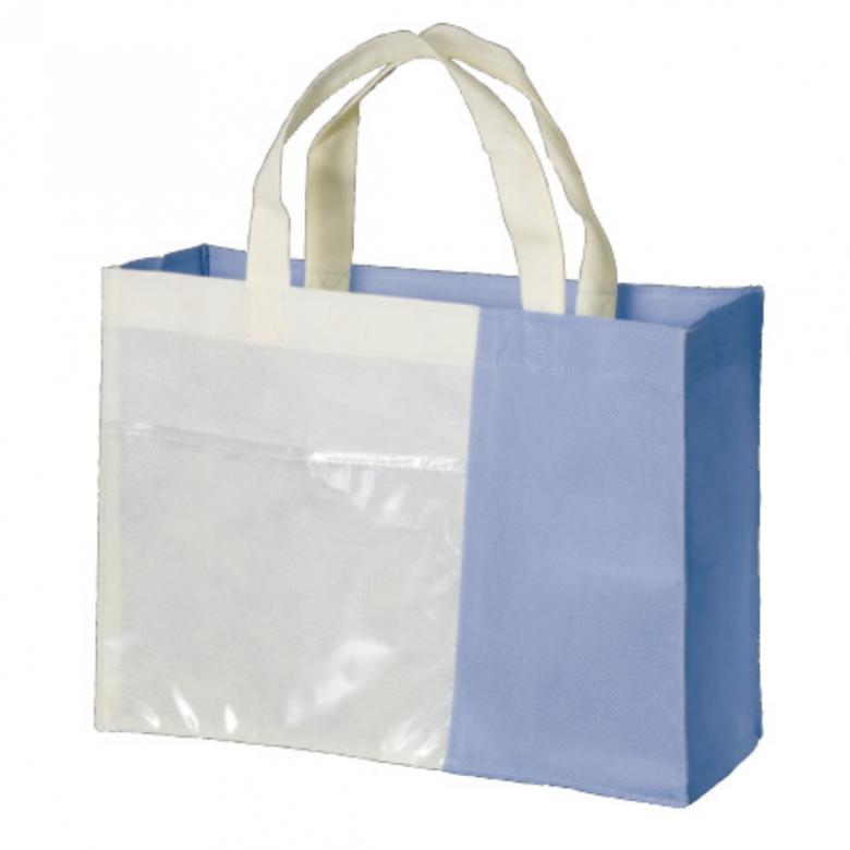 透明袋付きPPバッグ横ブルー