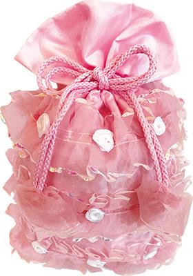 フリル巾着ピンク